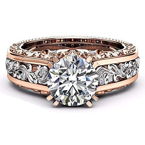 2019 Chaofanjiancai Rings Fashion Women Color Separation Rose Gold Wedding Engagement Floral Ring