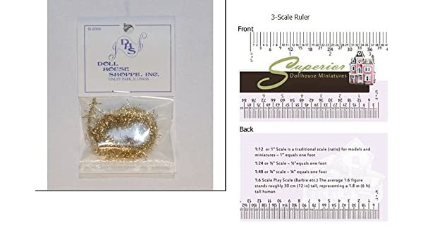 Amazon dollhouse miniature ssn gold wired tree tinsel