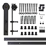 Vancleef 12FT Single Door Kit Sliding Barn Door Hardware, Straight Design, Industrial Strength, Black Rustic, Interior and Exterior Use, With Quiet Glide Roller and Descriptive Installation Manual