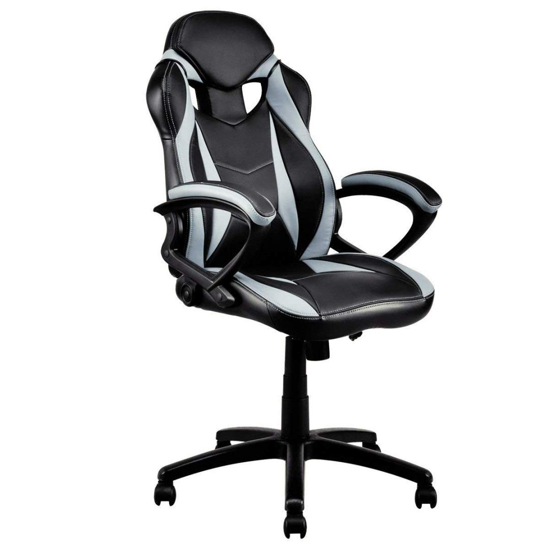 Modern Style High Back Gaming Chairs 360-Degree Swivel Design Desk Task PU Leather Upholstery Thick Padded Seat Posture Support Home Office Furniture - (1) Grey/Black #2123 by KLS14