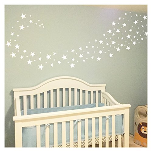 Stars Assorted Self Adhesive Wall Pattern Stickers (Set of 108, White)