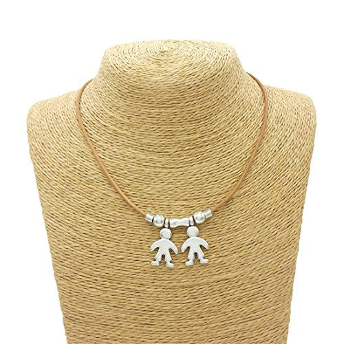 - VWH Cute Boy Girl Necklace Son and Daughter Pendant Necklace (two boys)