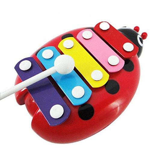Generic Baby-Kind 5-Note Xylophone Musikspielzeuge Weisheit Entwicklung Käfer (Rot)