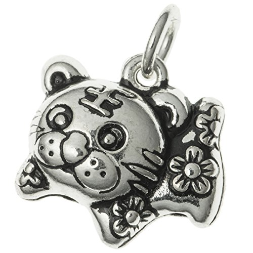 Dreambell Antique .925 Sterling Silver Chinese Zodiac Year Animal Tiger Dangle Charm Pendant