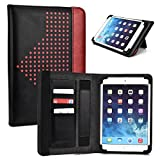 Red Universal 9 Inch Tablet Case with Built-in Stand fits iRULU eXpro X1a 9 Inch