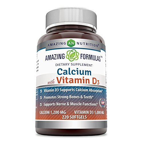 Amazing Formulas Calcium with Vitamin D3 Dietary Supplement * 1,000 IU of Vitamin D3 plus 1200 mg 220 softgels of calcium per serving of 2 softgels- Vitamins D3 aids in better Calcium absorption