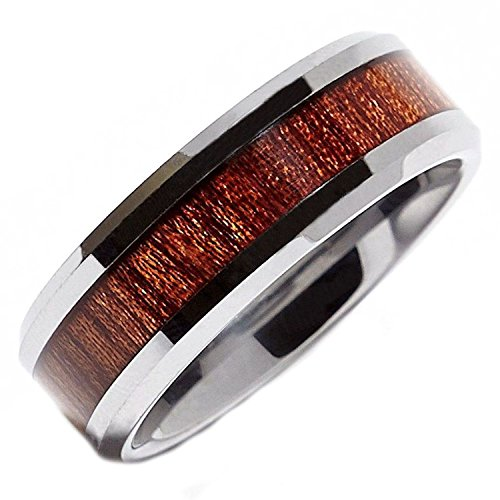 (MJ 8mm Tungsten Carbide Rosewood Inlay Wedding Ring Comfort Fit Size 9.5)