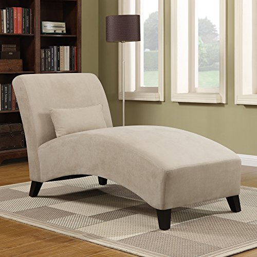 Chaise Lounge Chair - Living Room Contemporary Furniture - 100 % Polyester Microfiber Upholstered Over Wood Frame - Accent Pillow Included (Khaki) (Beige Microfiber Chaise)