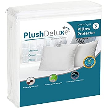 King Pillow Protector Covers - Waterproof, Allergy, Dust, Bed Bug, and Mite Proof Zippered Protectors - Pillowcase Zipper Cover Allergen Case Pack For Sleep Pillows - Soft Cotton Terry - 2