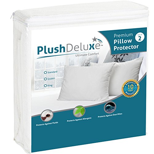 King Pillow Protector Covers - Waterproof, Allergy, Dust, Bed Bug, and Mite Proof Zippered Protectors - Pillowcase Zipper Cover Allergen Case Pack For Sleep Pillows - Soft Cotton Terry - 2 (Allergen Pillow Cases Proof)