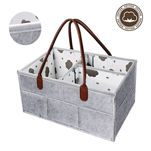 Baby Diaper Caddy Organizer, XL Cotton Changing Table Nursery Storage Bin Extra Large Capacity Baby Shower Basket for Baby Essentials Kids Toys and More (Gray)