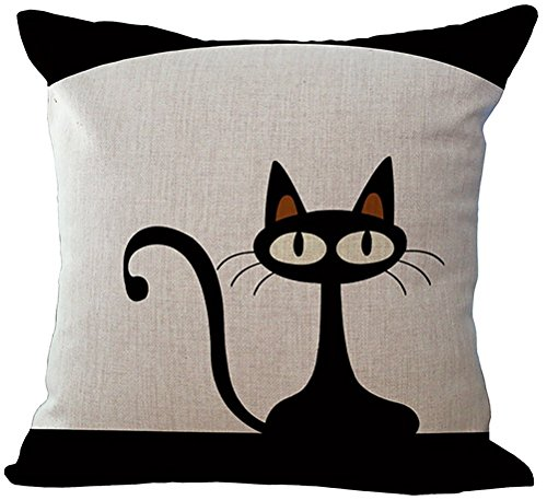 ChezMax Linen Blend Black Cats and White Pattern Cushion Cover Cotton Pillowslip Square Decorative Throw Pillow Case 18 X 18''