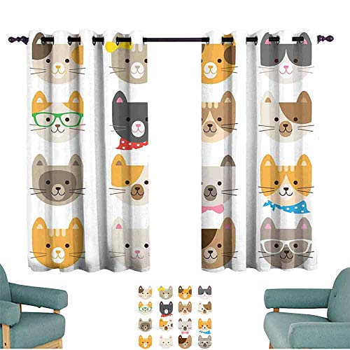 Mannwarehouse Kids Simple Curtain Cats Costume with Glasses Bow Tie Bandanna Cartoon Art Craft Pattern Print Pets Animal Lovers Print Darkening and Thermal Insulating 63