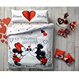 Paris Home 5pcs Minnie Loves Mickey Mouse Perfect Match Heart 100% Cotton Full Size Comforter Set w/ Linens Bedding Set
