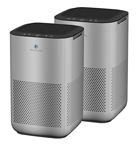 Medify MA-15 Air Purifier with H13 HEPA filter - a higher grade of HEPA | NEW MODEL JULY 2020 | '3-in-1' Filters | 99.9% removal in a Modern Design - Silver 2-Pack