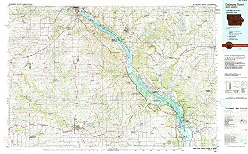 (YellowMaps Dubuque South IA topo map, 1:100000 Scale, 30 X 60 Minute, Historical, 1984, Updated 1991, 24.1 x 39 in - Polypropylene)