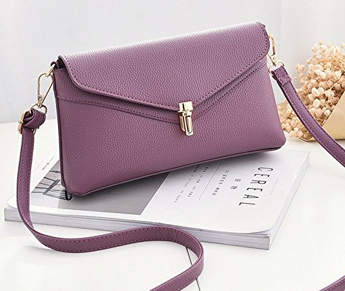 Rrock Bolso Femenino del Bolso De Embrague De La Cartera De Las Señoras del Bolso Diagonal Ocasional del Hombro del Bolso Femenino,Gray Purple
