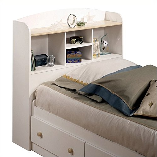 Maple Finish Twin Headboard - South Shore Twin Bookcase Storage Headboard in Pure White Finish
