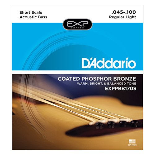 D'Addario EXPPBB170S Phosphor Bronze Coated Acoustic Bass Strings, Short Scale, 45-100 (Bass Scale Acoustic)
