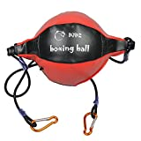 boxing training equipment - DJDZ Leather Boxing Speed Dodge Ball MMA Double End Punch Bag Floor to Ceiling Rope Training Punching Workout (Red & Black)