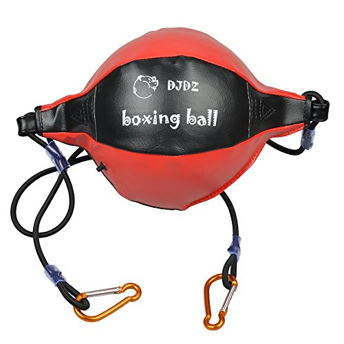 DJDZ Leather Boxing Speed Dodge Ball MMA Double End Punch Bag Floor to Ceiling Rope Training Punching Workout (Red & Black) Bag Boxing Punch