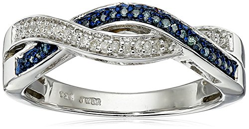 Sterling Silver Blue and White Diamond Twist Band Ring (1/10 cttw), Size ()