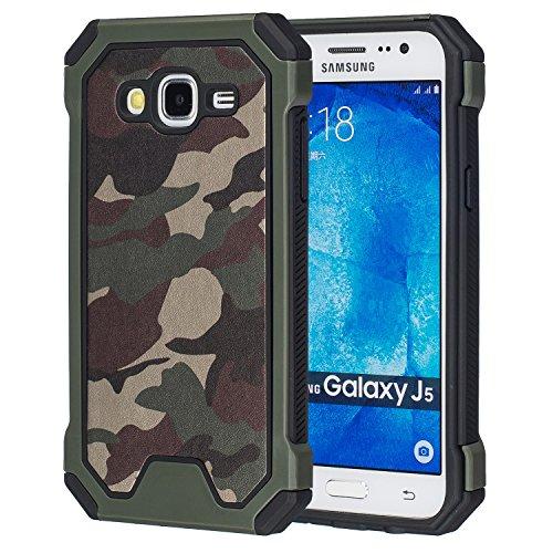 MOONCASE Galaxy J5 Funda, Camuflaje Dual Layer Híbrida Case Choque Absorción Protección Carcasa Tapa para Samsung Galaxy J5 (2015) Verde
