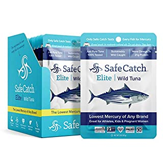 Safe Catch Elite Lowest Mercury Solid Wild Tuna Steak, 3 oz Pouch. The Only Brand To Test Every Tuna for Mercury (Pack Of 12)