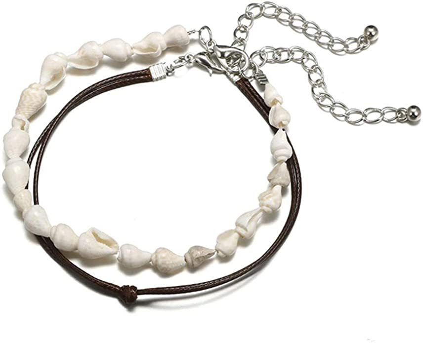 Jovono Multilayered Conch Anklets Hide Rope Anklet Bracelets Fashion Beach Foot Jewelry for Women and Girls