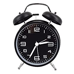 LABANCA Lovely Round Metal Alarm Clock Twin Bell Quartz Desk Table Clock Backlight Night Light Illuminant Home Decor Daily Alarms Black