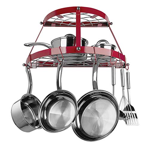 2 Shelf - 8 Hooks Red Pot Rack Wall Mounted Half Round 2 Tier Hanging Organizer for Pans Kitchen Cookware Holder, Metal