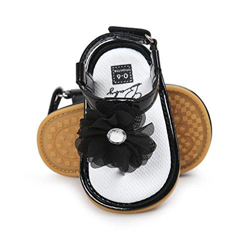 Covermason Baby Blumenperle Sandalen Schuhe Kleinkindschuhe Schwarz