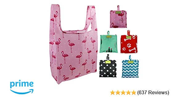 f1cc2805c8f9 Foldable Reusable Grocery Bags Bulk 5 Cute Designs Folding Shopping Tote Bag  Fits in Pocket Eco Friendly Ripstop Nylon Waterproof and Machine Washable  Cloth ...