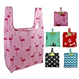 Foldable Reusable Grocery Bags Cute Designs, Folding Shopping Tote Bag Fits in Pocket (Pink,Green,Black,Teal,red)