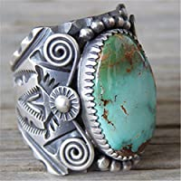 TheoneJewelry Huge 925 Silver Delbert Gordon Mountain Turquoise Bridal Ring Women Jewelry 6-10 (10)