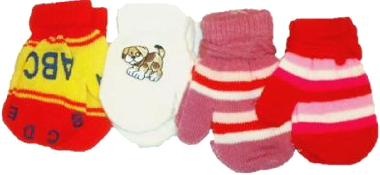 Set of Four Pairs Stretch Magic Mittens for Infants Ages 3-12 Months