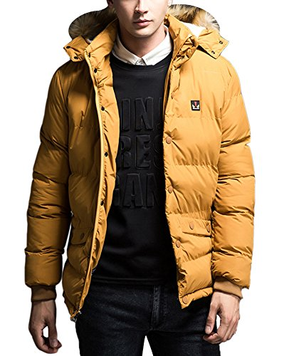 Fur LaoZan Qulited Long Winter Yellow Padded Outwear Thicken Faux With Coat Men's Hood wqvfrXpq6