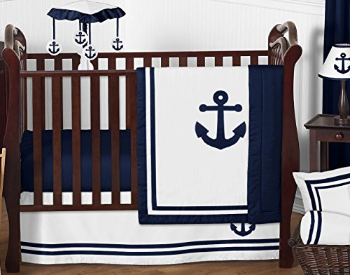 Sweet Jojo Designs 11-Piece Anchors Away Nautical Navy and White Boys Baby Bedding Crib Set Without Bumper