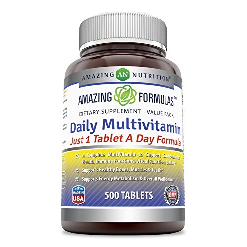 All One Tablet Vitamins - Amazing Formulas Daily Multivitamin 500 Tablets - Just 1 Tablets A Day Formula A Complete Multivitamin to Support Cardiovascular Health, Immune Functions, Visual Functions & More*