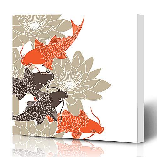 Ahawoso Canvas Prints Wall Art 16x16 Inches Swim Brown Fish Koi Nature Asian Orange Lotus Flower Carp Retro Decor for Living Room Office Bedroom