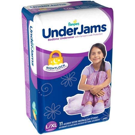 Pampers Under-Jams Bedtime Underwear for Girls, L/XL, 11 Cou