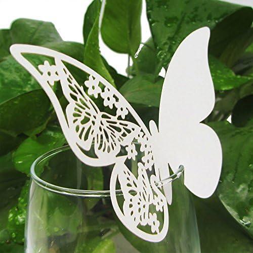 Hommy 10pcs 蝶 ガラス 名カード 真珠光沢 結婚式 ホワイト