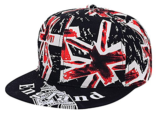 Mancave Unisex Cotton Polyester Eclectic Funky Prints Flat Brim Baseball Cap, Style3Black One (Funky Cotton Hats)