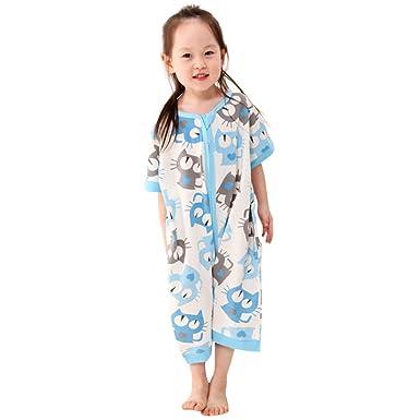 3e7f643d07243 Vine Bébé Sac de Couchage Enfants Coton Pyjama Gigoteuse avec Pieds Manches  Courtes Grenouillères Fermeture à