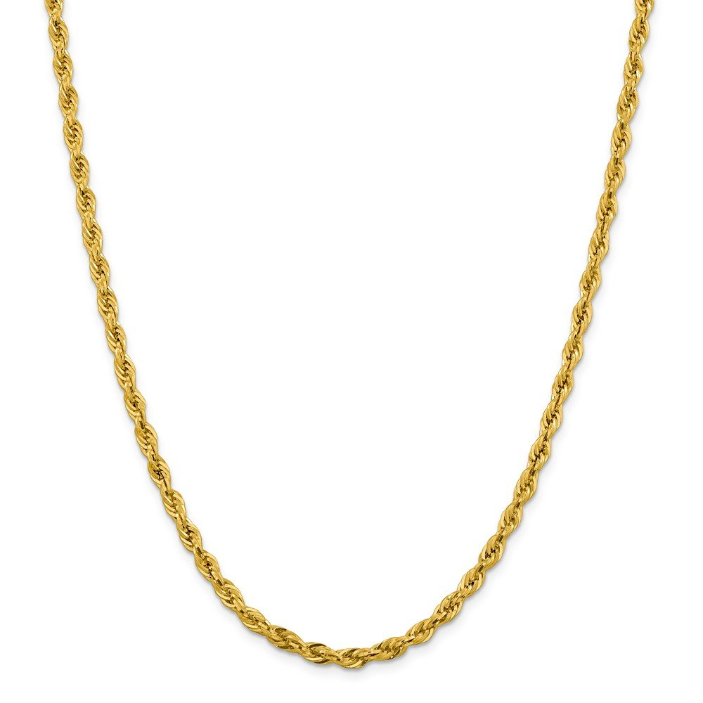 Real 14kt Yellow Gold 4.25mm Semi-Solid Rope Chain; 20 inch