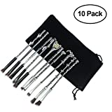 Revoq's 10 Magical Themed Wizard Wand Makeup Brushes, Metal, Extra Durable, Soft Brushes