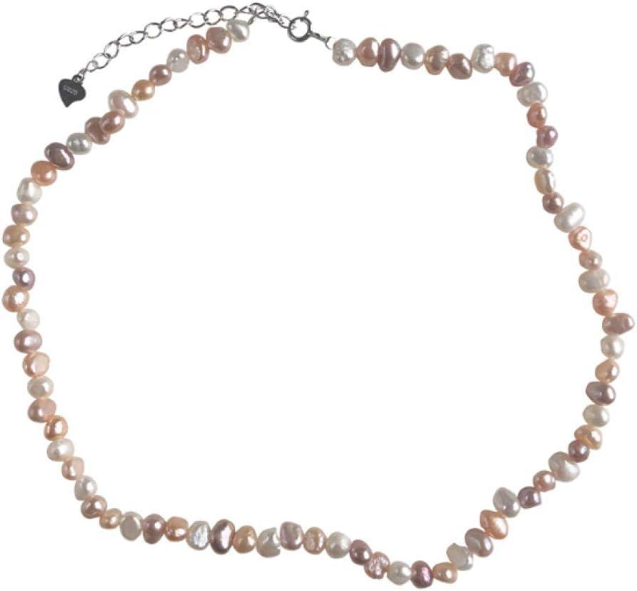 BAIMM Wild S925 Plata esterlina Collar de Perlas de Agua Dulce Collar de Cuello clásico Salvaje clásico clásico Cadena de clavícula Belleza joyería Femenina Elegante