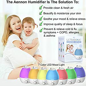 Cool Mist Humidifier, 2.8L Ultrasonic Humidifiers for 20 Hours Use, Whisper-Quiet, 7 Color LED Lights, Auto Shut-off For Home Bedroom Baby Room Office