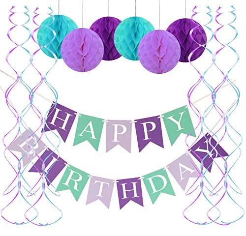 FECEDY Mermaid Happy Birthday Banner Hang Honeycomb Ball Swirls Streamers for Birthday Party