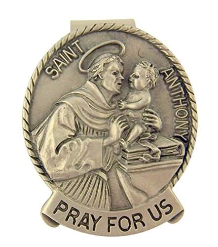Pewter Catholic Saint St Anthony Medal Visor Clip, 2 Inch Anthony Medal Ring